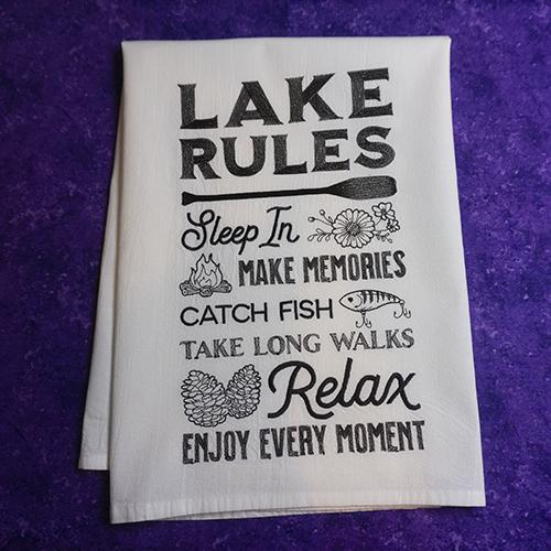 Lake Rules Dish towel