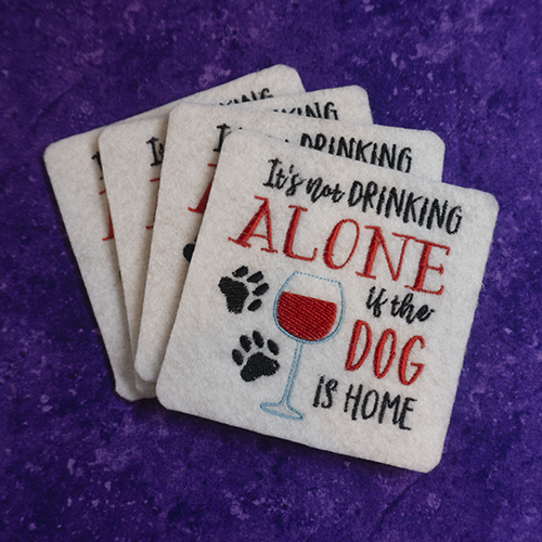 Enjoy this great set of coasters while enjoying a glass of wine... with the dog!