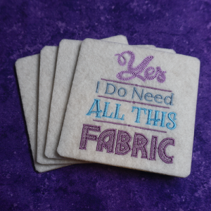 Yes I need all this Fabric White Coaster Set