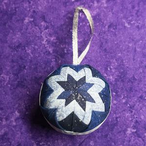 Tri-Color Blue Fabric Star Ornament