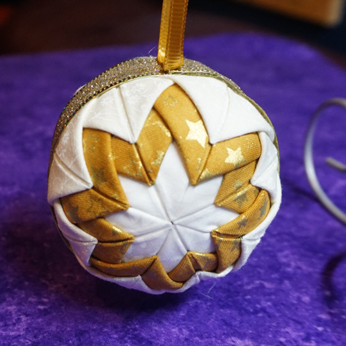 Fabric Star Ornament in White/Gold/Ivory